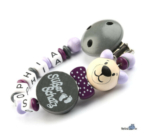 Schnullerkette mit Namen /& 3D Bär ♥Baby♥Geburt♥Taufe♥Geschenk♥ Nuckelkette