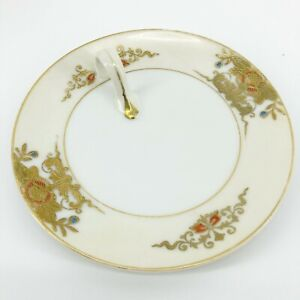 Noritake-Handpainted-Gold-Floral-5-3-4-034-Serving-Plate-With-Handle-Flower-Pattern