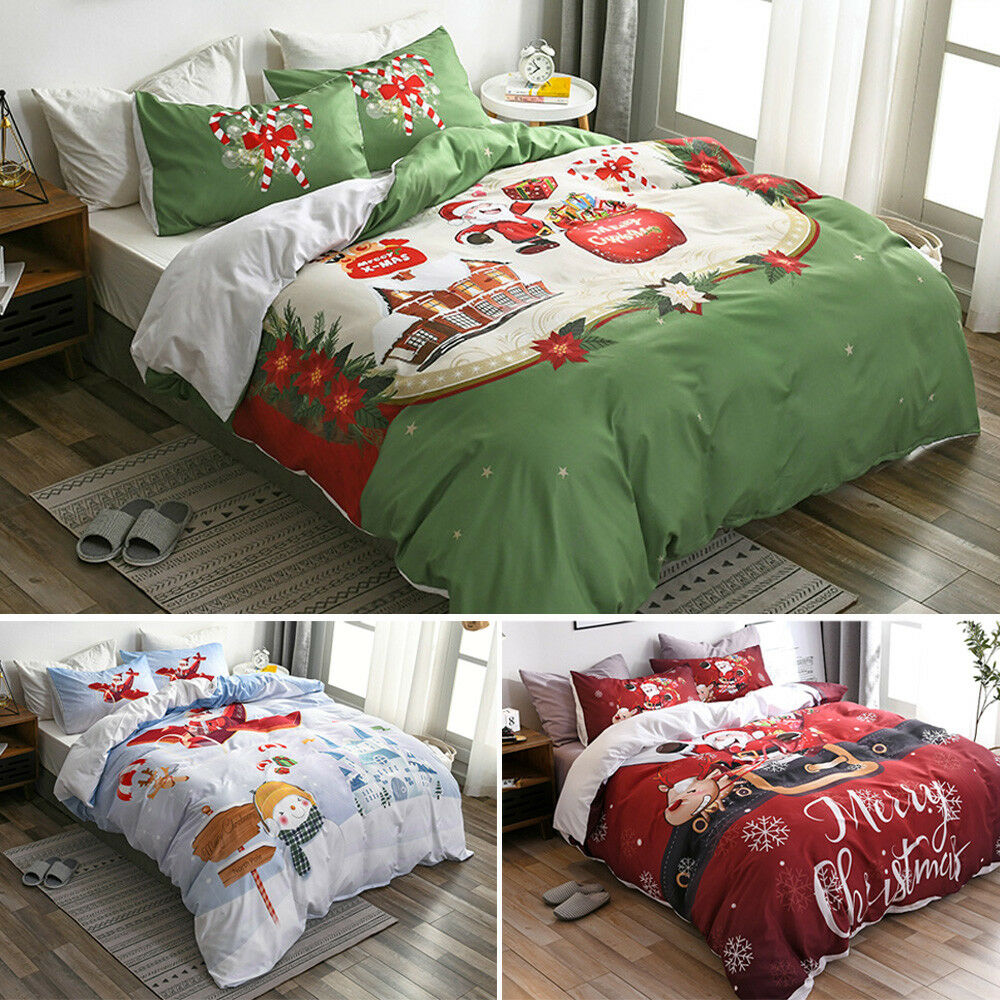 Christmas Santa Gift Snowman Duvet Quilt Cover Holiday Bedding Set Pillowcases