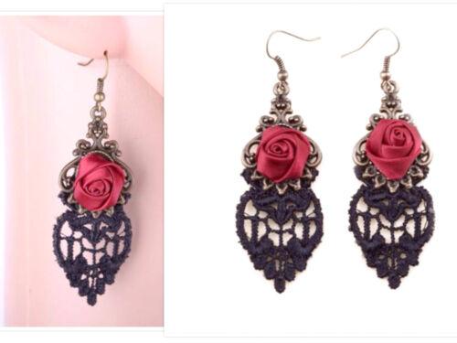 Boucles Oreilles Longues Vintage Rétro Gothique Années Rose Rouge Dentelle Noire