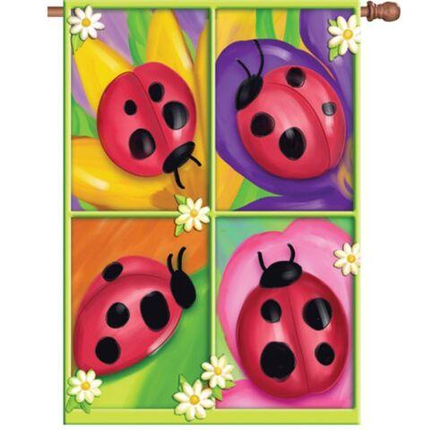 "13/"" x 18/"" Approx Flag PR 51301 Four Ladybugs Garden Size"