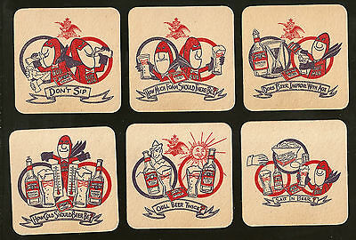 """MANCAVE//BAR Vintage Budweiser BUD MAN Set of 6 BEER COASTERS from 1970/""""s MINT!"""