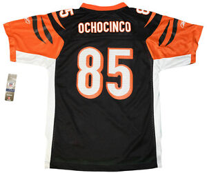 watch 57db7 fc356 Details about Youth sized NFL Black Cincinnati Bengals OchoCinco #85  Throwback Football Jersey