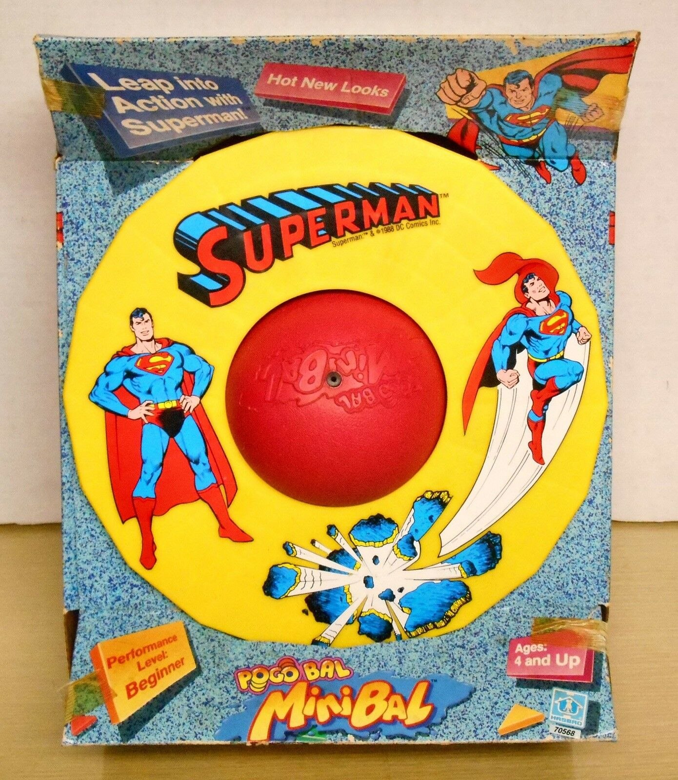 1988 Hasbro - SUPERMAN PogoBal MiniBal Box shows some wear New NM MIB