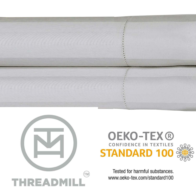 500 Thread Count Damask Stripe Cotton Sheets 100% Els Cotton Hem Stitch Luxury