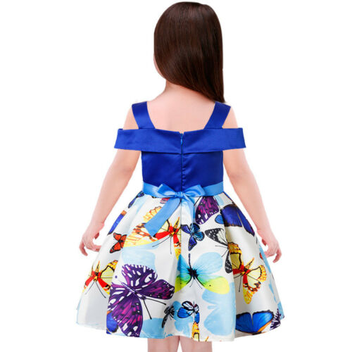 2018 Children/'s Girls/' Summer Spring Blue Off-Shoulder Butterfly Print Dress O05