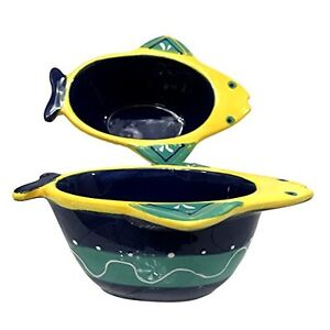 G-for-Gift-Fish-Dishes-Dip-Serving-Ceramic-Bowls-Blue-Green-Yellow-Set-of-2