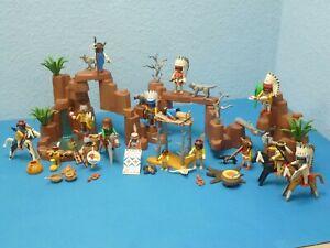 Großes Western Indianer Lager Felsen Figuren Pferde Waffen Playmobil 1380