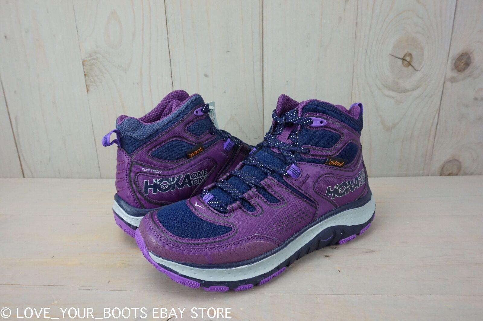 HOKA ONE ONE TOR TECH MID WP PEACOAT PLUM  HIKING  SHOES WOMENS  US 7 NEW