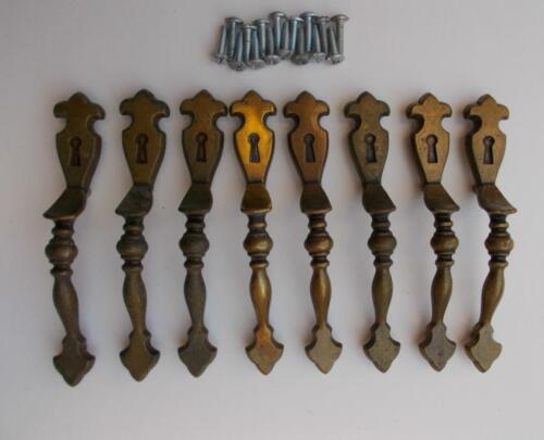 8 Vintage Amerock Brass #179 Cabinet Pulls Handles Hardware Keyhole Fleur-De-Lis
