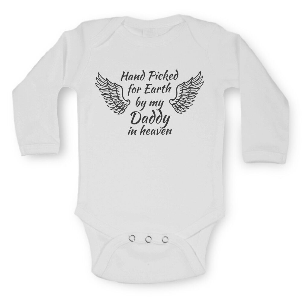 cdfe55011d8b Details about Baby Vests Bodysuits Long Sleeve Funny Graphic Printed Hand  Picked in Heaven