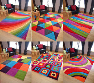 Small Xl Large Multi Coloured Bright Modern Thick Rugs