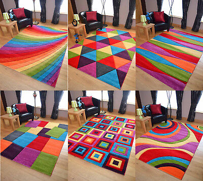 Funky Bright Modern Multi Coloured Thick Rugs Soft Heavy