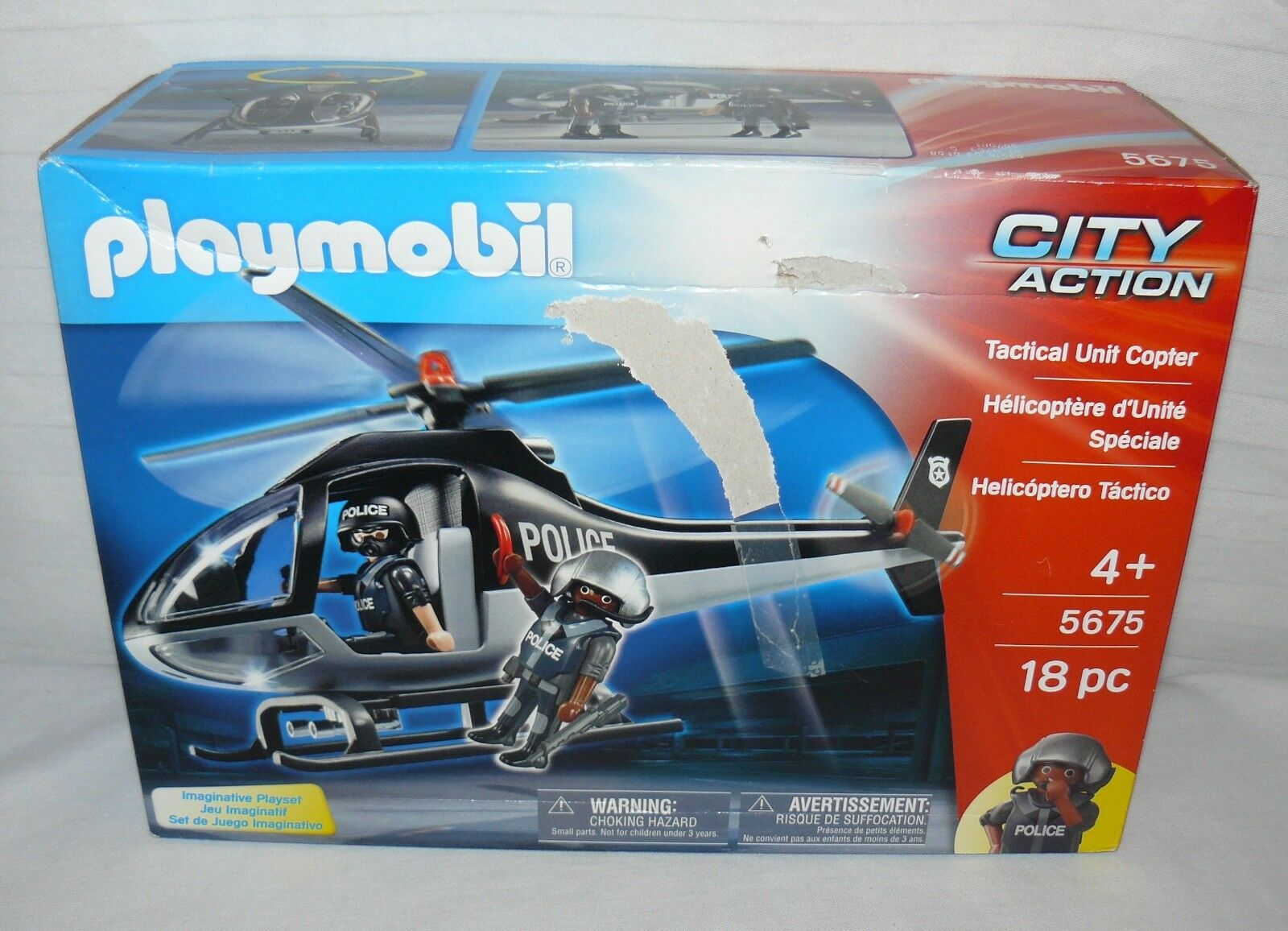Playmobil Tactical Unit Police Police Police Helicopter W Figures City Action Chopper 5678fd
