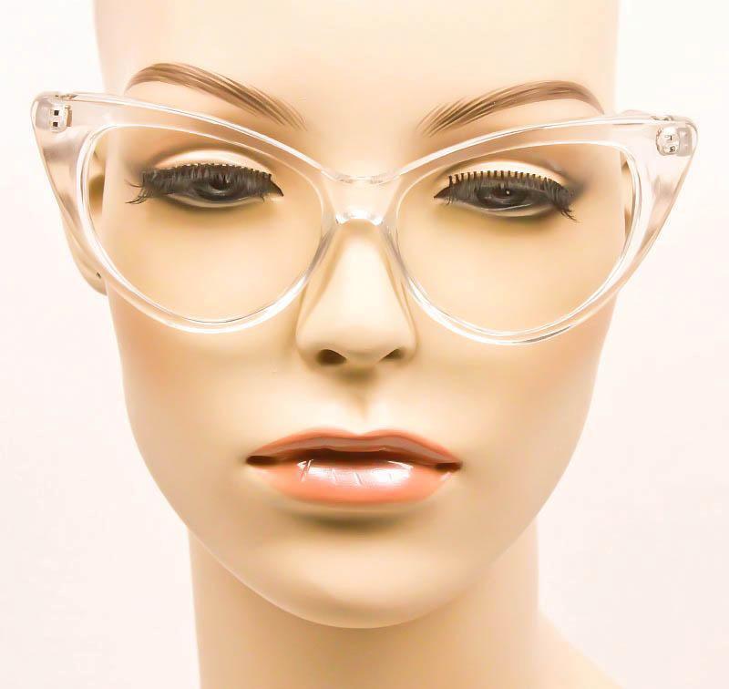 0fede79820a8 Large Cat Eye Crystal Clear Translucent Pinup Fashion Big Eyeglasses ...