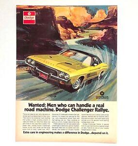 1973-Dodge-Challenger-Rallye-Advertisement-Wanted-Men-Who-Handle-Vtg-Print-AD