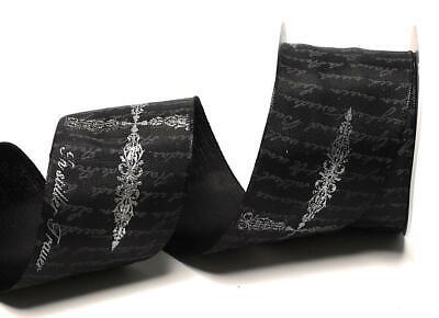 1m//1,50€ silber Trauerschleife TRAUERBAND 10m x 60mm PSALMBAND schwarz