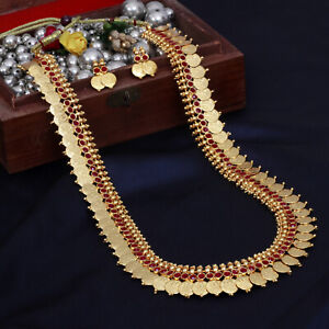 9f745ae8982fa South Indian Traditional Gold Plated Long Ginni Coin Necklace Set ...
