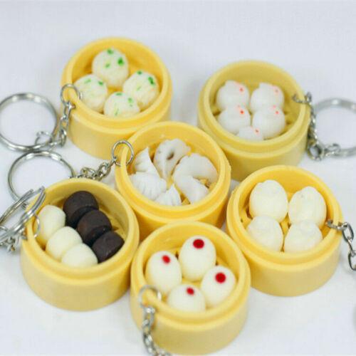 Mini Funny Food Keyring Handbag Purse Pendant Ring Bun Cocktail Mobile Key Chain