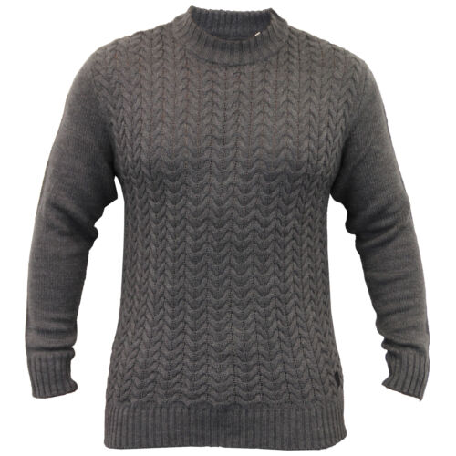 Mens Jumper Soul Star Cable Knitted Sweater Pullover Chunky Waffle Ribbed Winter