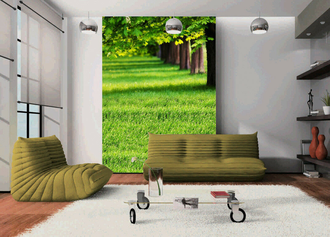 3D Grün Lawn Trees Wallpaper Murals Wall Print Wallpaper Mural AJ WALL AU Lemon