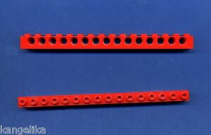 Lego--3703 -- Lochbalken --1 x 16 -- 15 Loch-- Rot -- 2 Stück