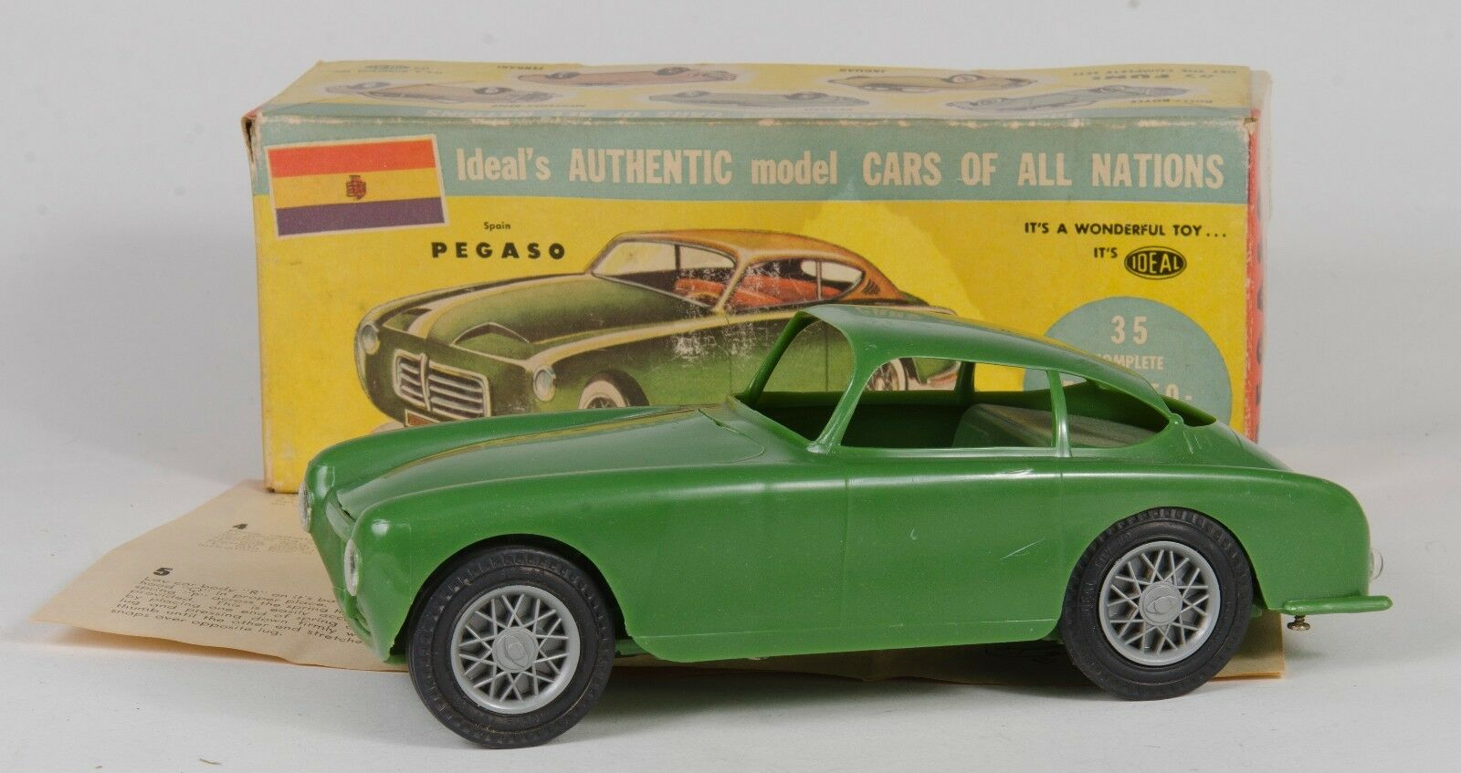 Ideal Toy Co. No. 3064 '1955 Pegaso' 8  Built Kit. Green. Rare. Boxed. 1950's