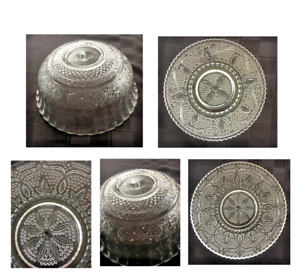 Vintage-Federal-Heritage-Clear-Glass-Hobnail-Scroll-Scalloped-Bowl-Plate-6-Piece