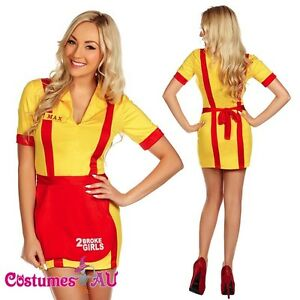 2 Broke Girls Waitress Fancy Dress Costume Name Tags Apron Dress