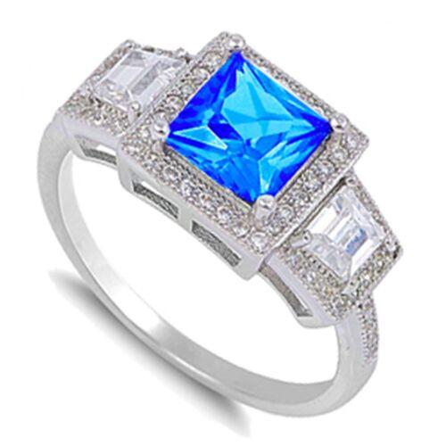 Princesse Cut Promesse Fiançailles Pierre de naissance Sterling Silver Ring Taille 3-12