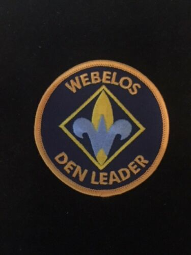 """BSA Style A EMBROIDERED BLUE /& GOLD BOY CUB SCOUT /""""WEBELOS DEN LEADER/"""" PATCH"""