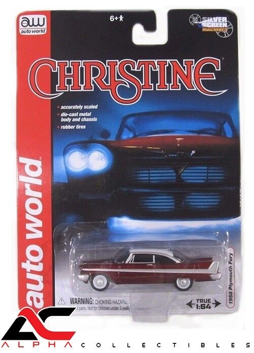 CHASE AUTOWORLD AWSS6401 1 64 1958 RED PLYMOUTH FURY CHRISTINE NIGHT VERSION