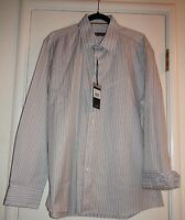 Zagiri Kms-2167 Lithium Light Blue Brown Stripe Button Down Casual Shirt Xl