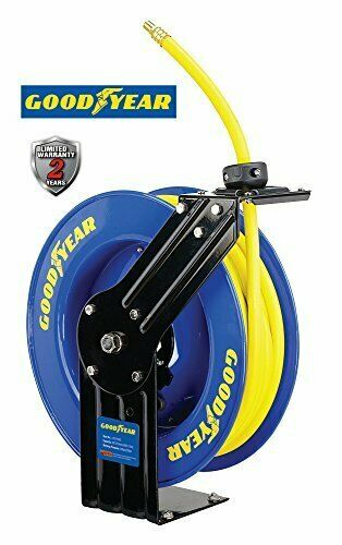 Goodyear L815153G Steel Retractable Air Compressor Water Hose Reel with 3 8 in.