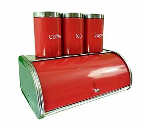 Image Is Loading Stainless Steel Bread Bin Set Red Tea