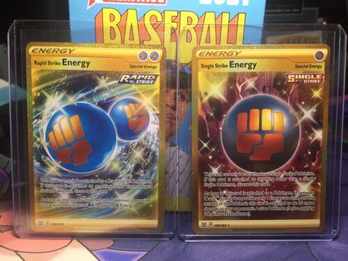 Pokémon Battle Styles Rapid Strike Energy & Single Strike Energy Secret Rare