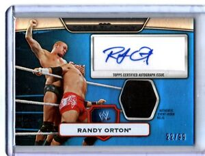 WWE-Randy-Orton-2010-Topps-Platinum-BLUE-Autograph-Relic-Card-SN-22-of-99