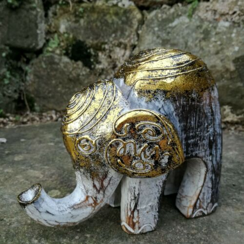 Elephant Wood Carving Ornament FairTrade Craft Hand Carved Elephants White Gold