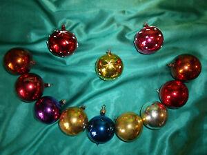 12-alte-Christbaumkugeln-Glas-bunt-rot-gold-blau-gruen-braun-weiss-lila-Tupfen