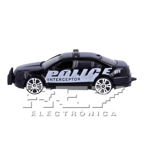 j194 Coche Deportivo Policía Negro Vehiculo Coleccion Niños ¡Envío desde ESPAÑA