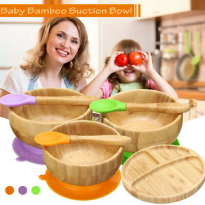 Bowl Spoon Set Kids Cute Tableware Baby Bamboo Table Food Tray Plate