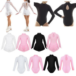 Girls Gymnastics Ballet Leotard Floral Lace Skating Dress Mock Neck Dancewear