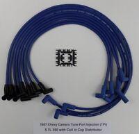1987 Chevy Camaro 5.7l 350 Tpi W/ Coil In Cap Dist Blue 8.5mm Spark Plug Wires