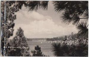 California-Ca-Real-Photo-RPPC-Postcard-c1940s-BIG-BEAR-LAKE-Shore-Sailboat-2