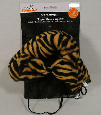 DELUXE TIGER ACCESSORY KIT EARS TAIL BOWTIE HALLOWEEN COSTUME ACCESSORY