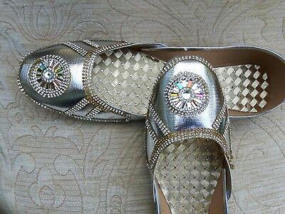 Señoras plata cuero Indio Boda Khussa zapatos talla 5
