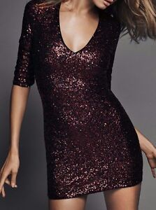 72ef0351 Express Bronze Sequin Mini Party Dress SZ 0 $118 NEW! SUPER SEXY ...