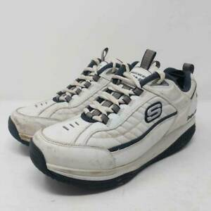 Skechers-Mens-Shape-Up-Walking-Shoes-White-Black-Lace-Low-Top-52000-Sneakers-11