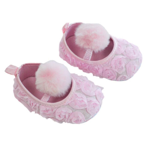 Baby Girls Rose Flower Shoes With Strap Pom Pom Baby Shoes 6-15 Months B2230