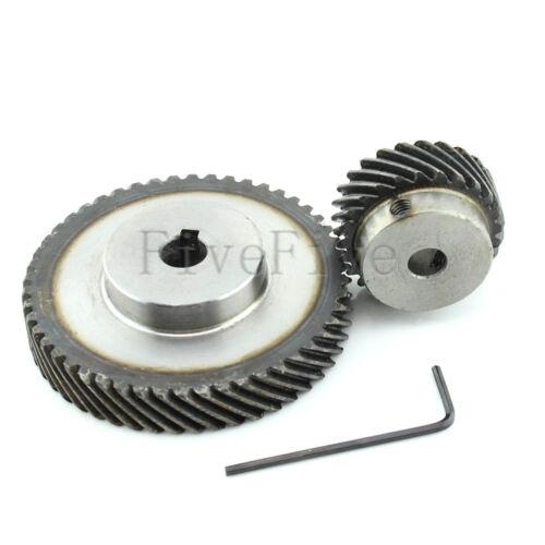 1M 50T//25T Metal Helical Wheel Gear 90° Pairing Bevel Gearing Set Kit Ratio 2:1
